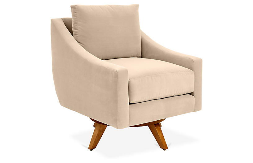Nash Swivel Chair, Bisque Crypton