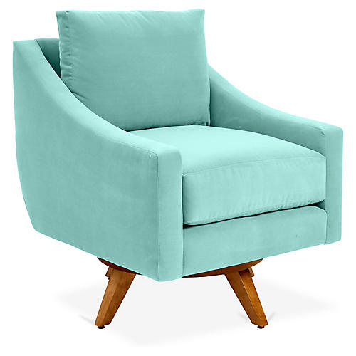 Nash Swivel Glider Chair, Sea Glass Crypton