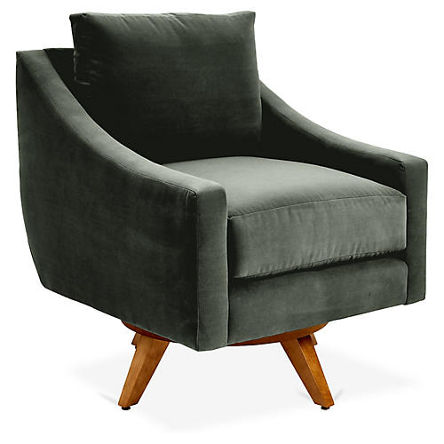 Nash Swivel Glider Chair, Forest Green Velvet