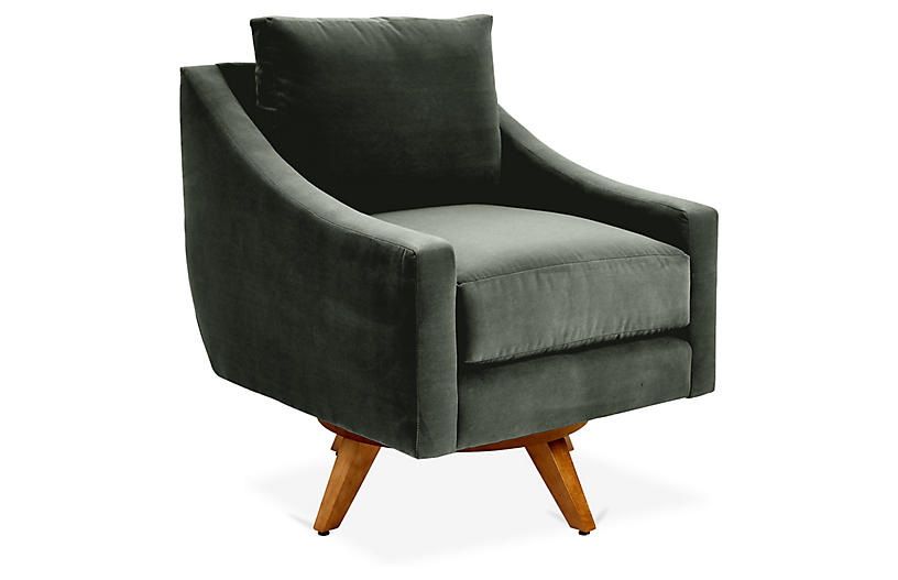 Nash Swivel Chair, Forest Green Velvet