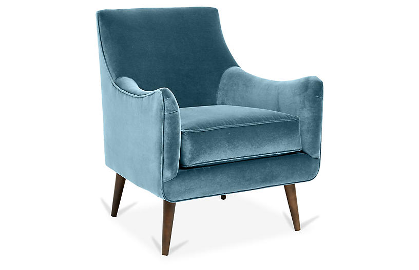 Oliver Accent Chair, Colonial Blue Crypton