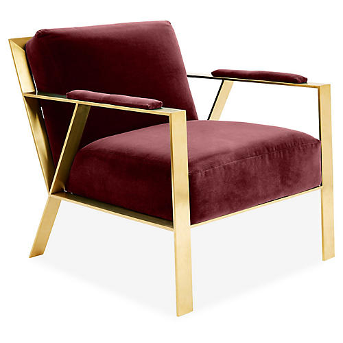 Baran Accent Chair, Berry Velvet