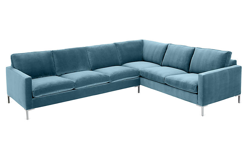 Amia Right-Facing Sectional, Colonial Blue Crypton