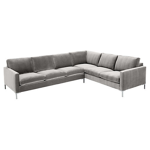Amia Right-Facing Sectional, Light Gray Crypton
