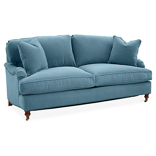 Brooke Sleeper Sofa, Colonial Blue Crypton