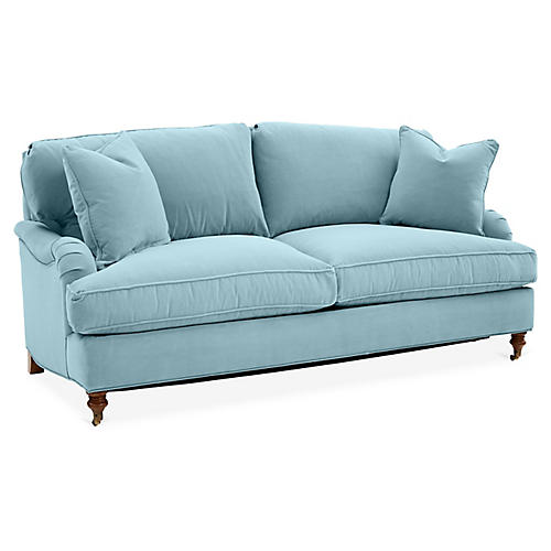 Brooke Sleeper Sofa, Light Blue Crypton