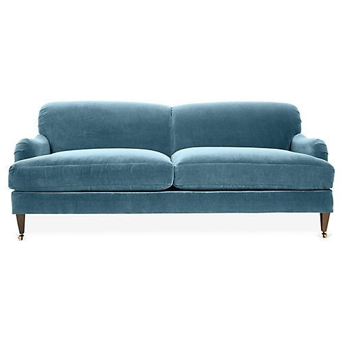Hayes Sofa, Colonial Blue Crypton Velvet