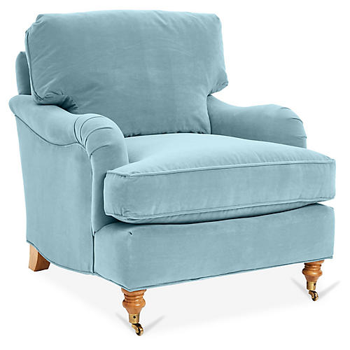 Brooke Club Chair, Light Blue Crypton