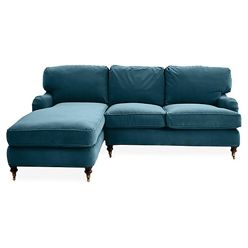 Brooke Left-Facing Sectional, Admiral Blue Crypton