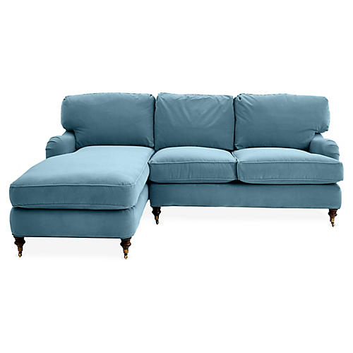 Brooke Left-Facing Sectional, Blue Crypton