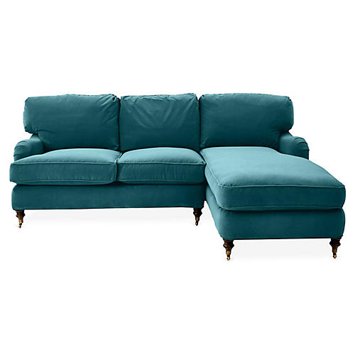 Brooke Right-Facing Sectional, Peacock Crypton