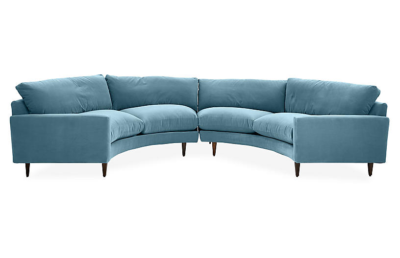Onslow Curved Sectional, Colonial Blue Crypton