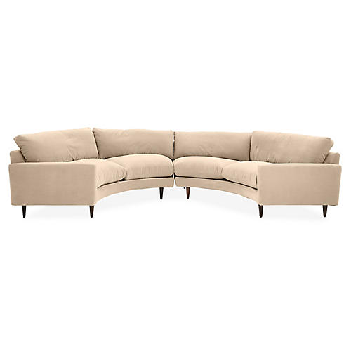 Olso Curved Sectional, Bisque Crypton