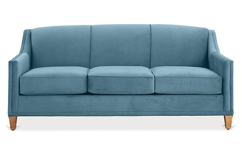 Erin Sleeper Sofa, Colonial Blue Crypton