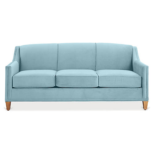 Erin Sleeper Sofa, Light Blue Crypton