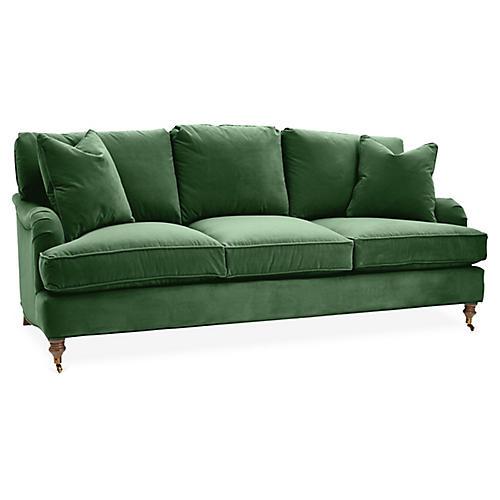 Brooke 3-Seat Sofa, Emerald Velvet