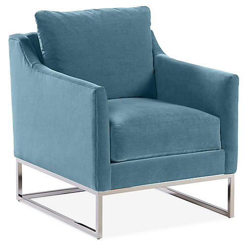 Saylor Accent Chair, Colonial Blue Crypton