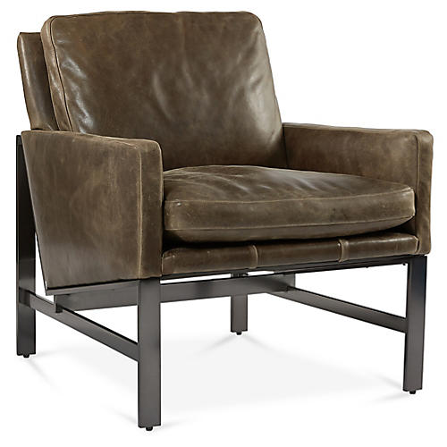 Atticus Accent Chair, Mushroom Leather