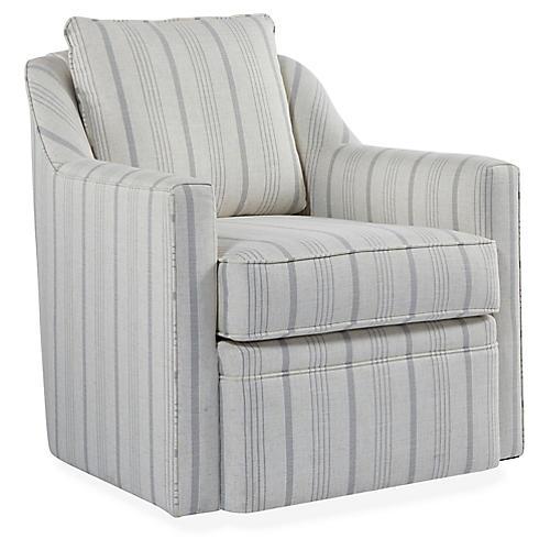 Anouk Swivel Club Chair, Natural/Light Gray