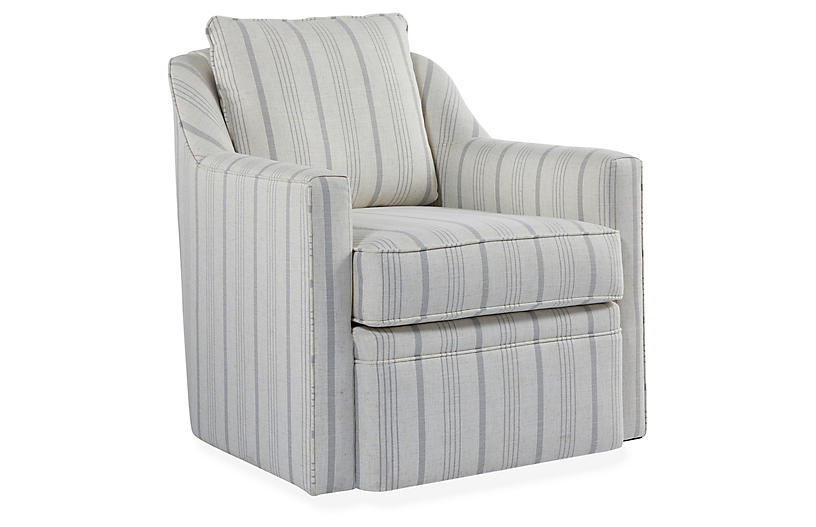 Chelsea Swivel Chair, Natural/Light Gray
