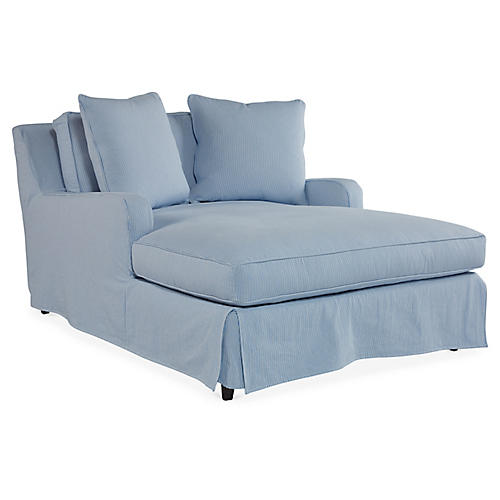 Havens Slipcover Chaise, Light Blue Crypton