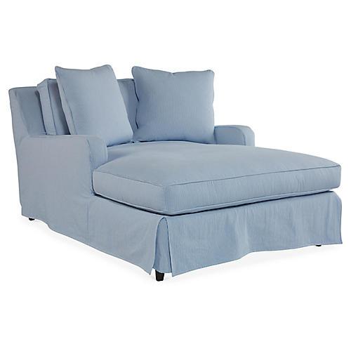 Hailey Slipcover Chaise, Light Blue Crypton