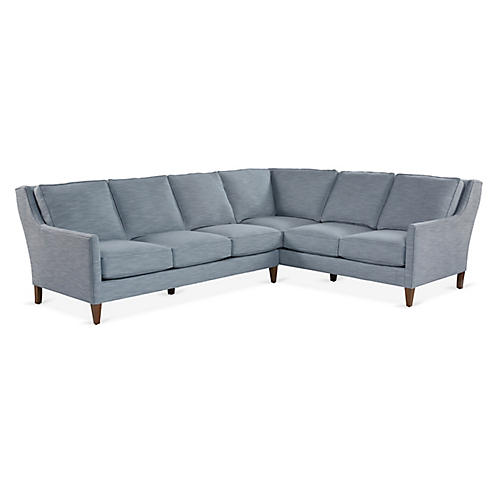 London Sectional, Ice Blue