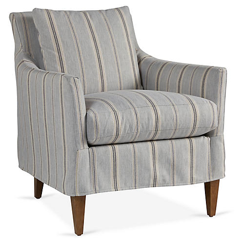 Ines Slipcover Chair, Gray/Blue Stripe