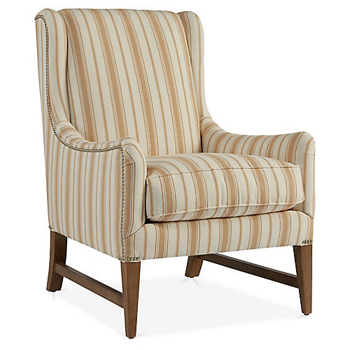 Miller Wingback Chair, Natural Stripe