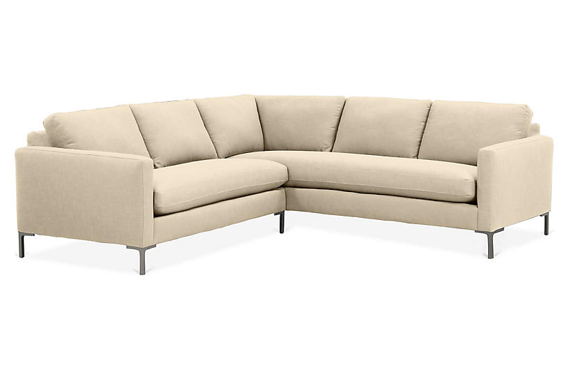 Amia Right-Facing Sectional, Flax Crypton