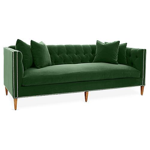 Brette Sofa, Emerald Velvet