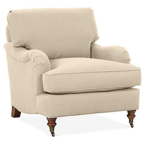 Brooke Club Chair, Flax Crypton