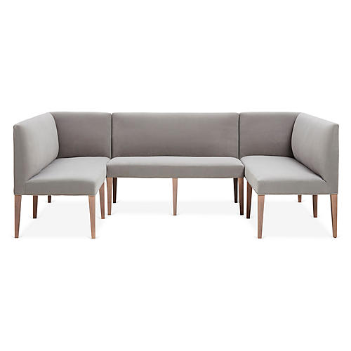 Reeves 3-Pc Banquette, Light Gray Crypton Velvet