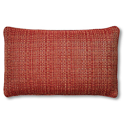 Beatrice 15x25 Lumbar Pillow, Red/Gold