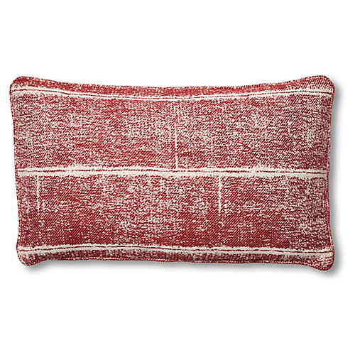 Adele 15x25 Lumbar Pillow, Red/White