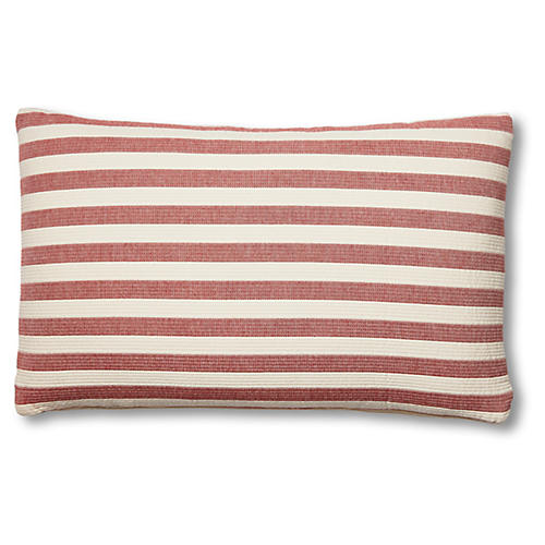 Nellie 15x25 Lumbar Pillow, Red/Ivory