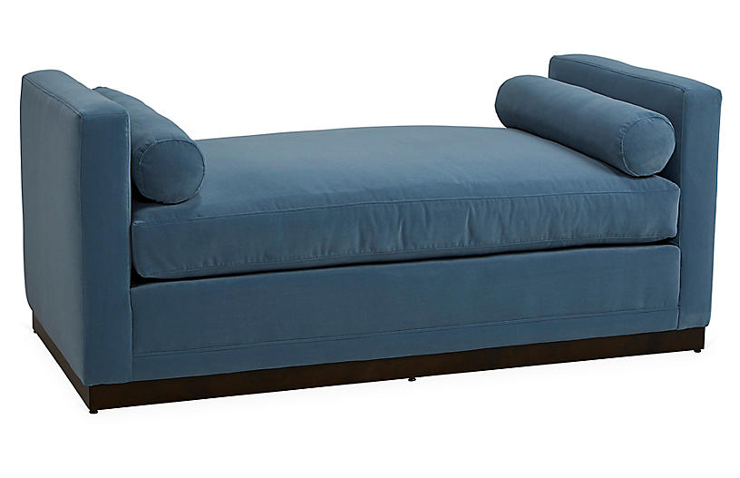 Shaw Daybed, Colonial Blue Velvet Crypton