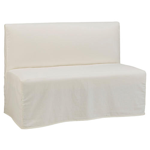 Reeves Slipcover Banquette, Bone White Crypton