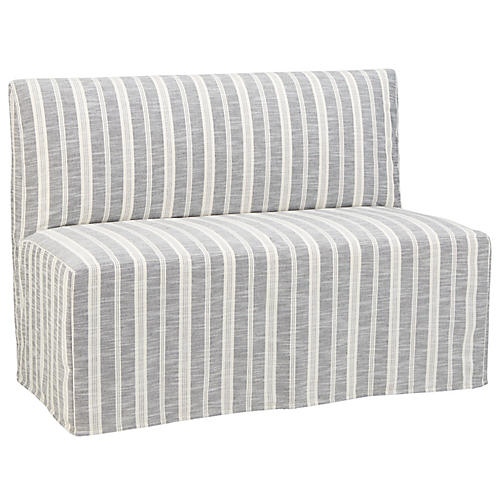 Reeves Slipcover Banquette, Midnight Stripe