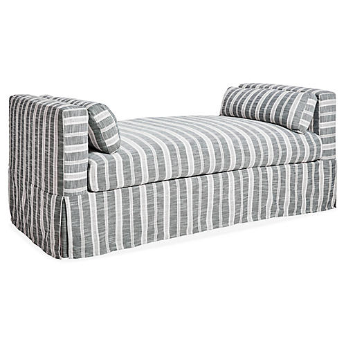 Shaw Slipcover Daybed, Midnight Stripe