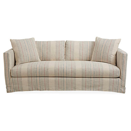 Shaw Slipcover Sofa, Cream/Indigo Stripe
