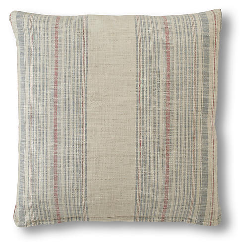 Molly Pillow, Cream/Indigo Stripe