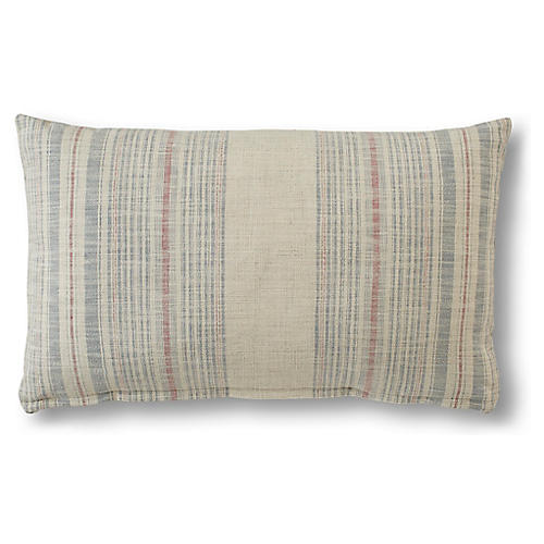 Molly 15x25 Lumbar Pillow, Cream/Indigo Stripe