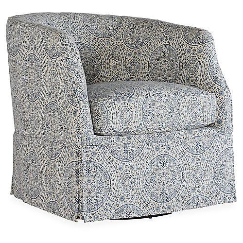 Ava Slipcover Swivel Chair, Royal Blue/Cream