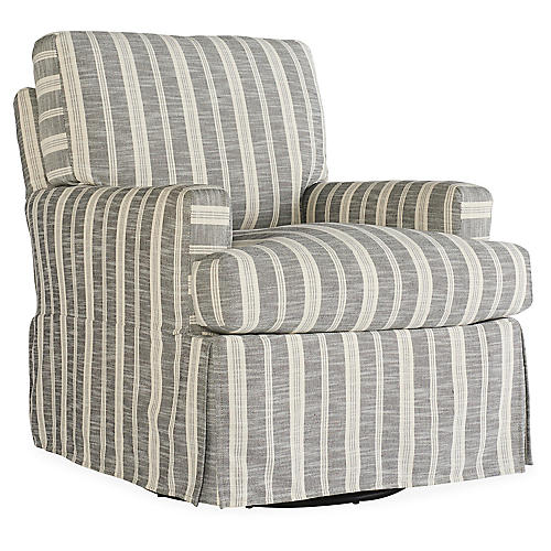 Sadie Slipcover Swivel Chair, Midnight Stripe
