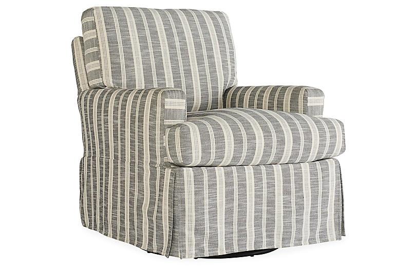 Sadie Slipcover Swivel Chair, Midnight Stripe