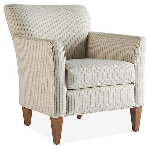 Gramercy Accent Chair, Gray Stripe