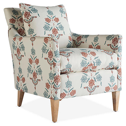 Ingrid Accent Chair, Cream/Coral