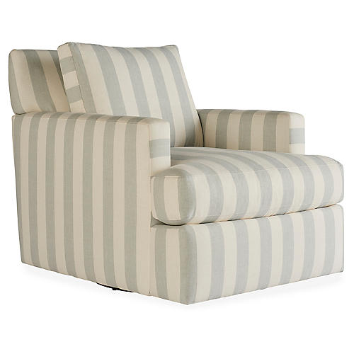 Laurent Swivel Chair, Beige/Seafoam Stripe