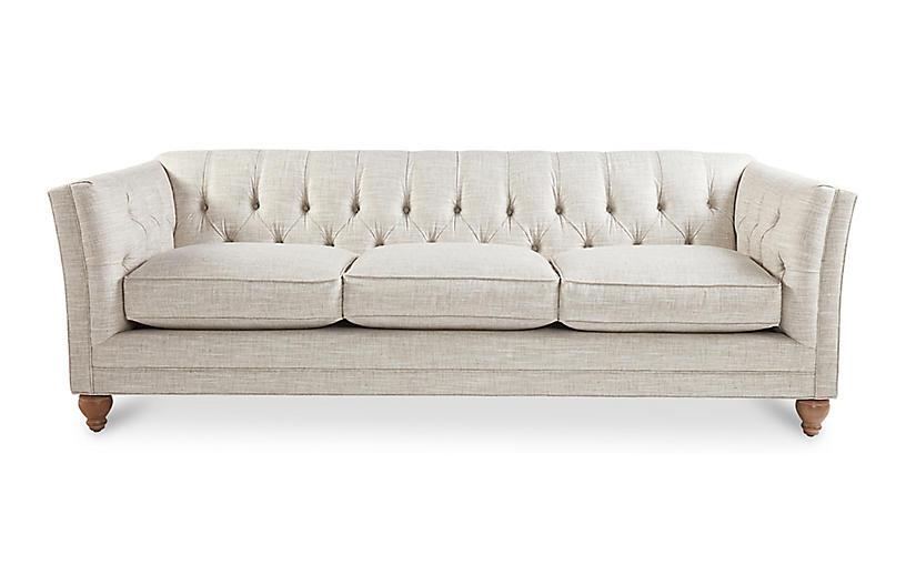 Singer Tufted Sofa, Platinum